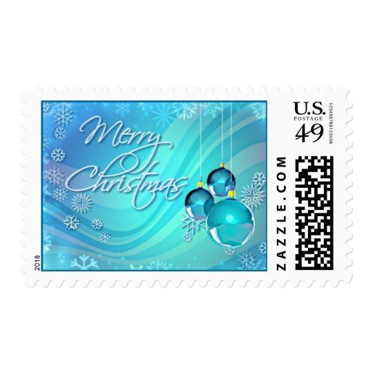 BLUE ORNAMENTS & SNOWFLAKES by SHARON SHARPE Postage