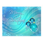 BLUE ORNAMENTS & SNOWFLAKES by SHARON SHARPE Postcards