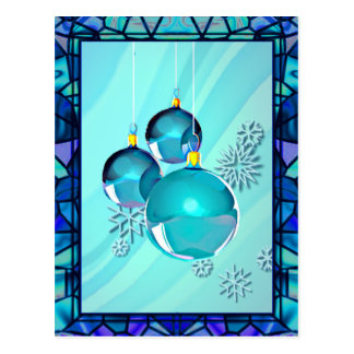 BLUE ORNAMENTS & STAINED GLASS by SHARON SHARPE Postcard