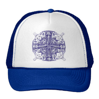 blue ornate cap trucker hat