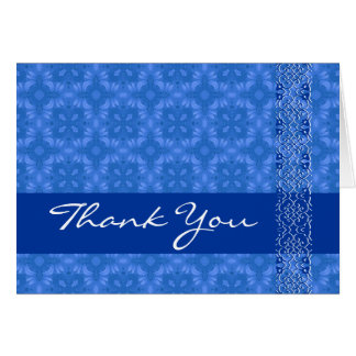 Blue Ornate with Lace Thank You H201 Greeting Card