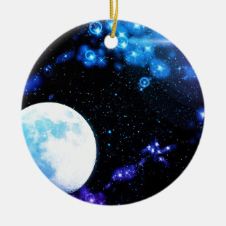 Blue Outer Space Ceramic Ornament