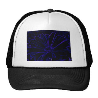 Blue outlined daisy trucker hat
