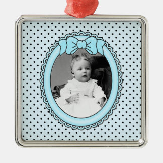 Blue Oval Frame - Customizable with Your Picture Ornament