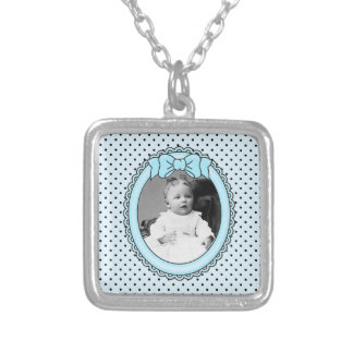 Blue Oval Frame - Customizable with Your Picture Square Pendant Necklace