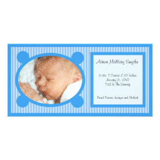Blue Oval Striped New Baby Photo Card