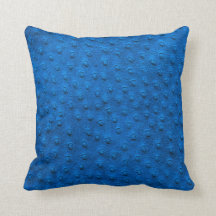 Blue Oversized Ostrich Leather Grain Pillow