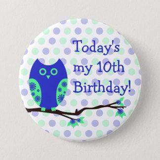 Blue Owl 10th Birthday Button