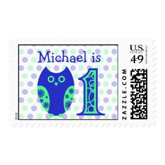 Blue Owl 1st Birthday Personalized Postage