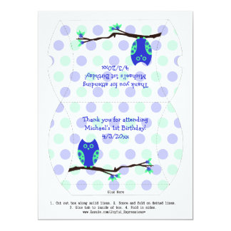 Blue Owl 1st Birthday Pillow Favor Box Personalized Invitations