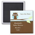 Blue Owl 2 Inch Square Magnet