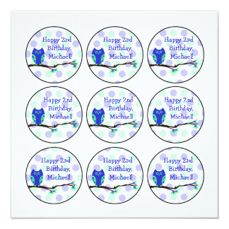Blue Owl 2nd Birthday Cupcake Toppers Card