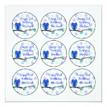 Blue Owl 2nd Birthday Cupcake Toppers Invitations