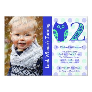 Blue Owl 2nd Birthday Party Photo Invitations