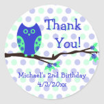 Blue Owl 2nd Birthday Personalized Favor Tags Sticker