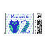 Blue Owl 2nd Birthday Personalized Postage