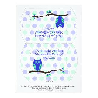 Blue Owl 2nd Birthday Pillow Favor Box Card