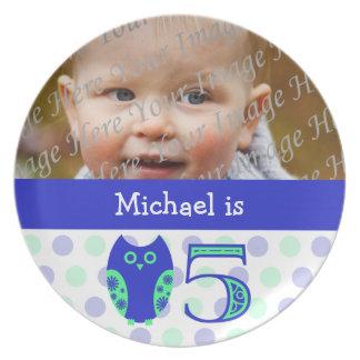 Blue Owl 5th Birthday Photo Plate