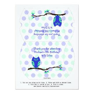 Blue Owl 5th Birthday Pillow Favor Box Personalized Invitation