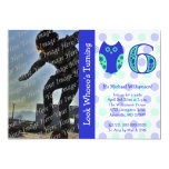 Blue Owl 6th Birthday Party Photo Invitations