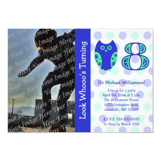 Blue Owl 8th Birthday Party Photo Invitations