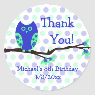 Blue Owl 8th Birthday Personalized Favor Tags Classic Round Sticker