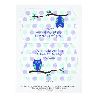 Blue Owl 9th Birthday Pillow Favor Box Personalized Invite