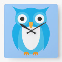 Blue Owl - Add Your Own Text Square Wall Clock