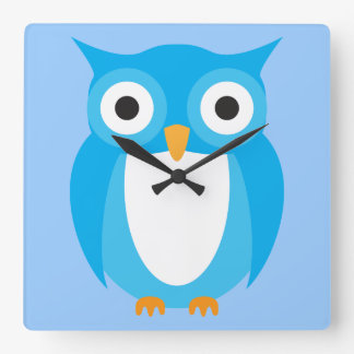Blue Owl - Add Your Own Text Square Wallclocks