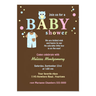 Blue Owl and Baby Overalls Shower Invite