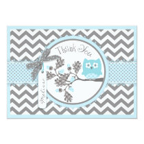 Blue Owl and Chevron Print Thank You Card