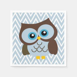 Blue Owl and Pastel Blue Chevron Zigzag Napkins