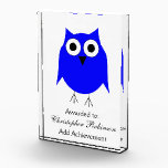 """Blue Owl Award<br><div class=""""desc"""">Owl Award. This Owl design makes a perfect gift for any Owl lover. Customizable with any text of your choice. Design &#169; www.justbyjulie.com</div>"""
