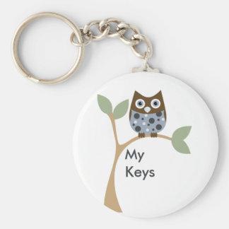 Blue Owl Baby Basic Round Button Keychain