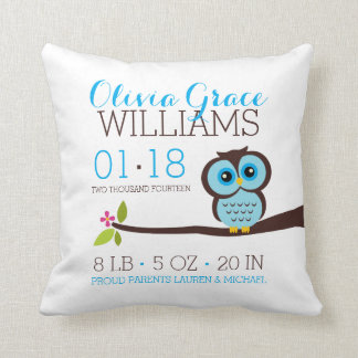 Blue Owl Baby Birth Announcement Throw Pillow