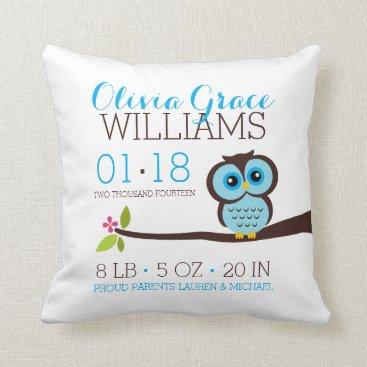 heartlocked Blue Owl Baby Birth Announcement Throw Pillow