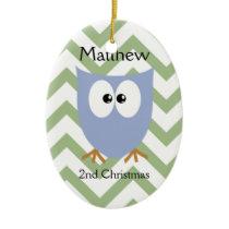 Blue Owl Baby Boy Ceramic Ornament