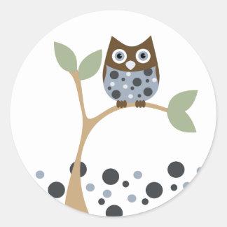 Blue Owl Baby Classic Round Sticker