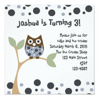 Blue Owl Baby Invitation