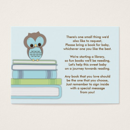 blue owl baby shower book insert request card zazzle