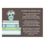 Blue Owl Baby Shower Book Insert Request Card