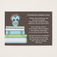 Blue Owl Baby Shower Book Insert Request Card at Zazzle