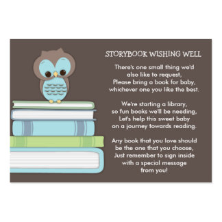 Blue Owl Baby Shower Book Insert Request Card Large Business Card