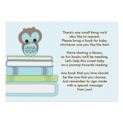 baby shower book insert request card pack of chubby business cards ...