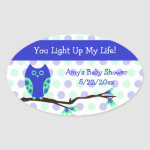 Blue Owl Baby Shower Candle Jar Favor Tags zazzle_sticker