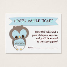 Blue Owl Baby Shower Diaper Raffle Ticket Insert at Zazzle