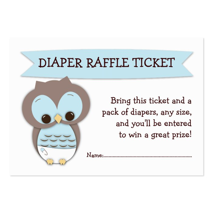blue owl baby shower diaper raffle ticket insert business card