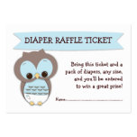 Blue Owl Baby Shower Diaper Raffle Ticket Insert Large Business Card