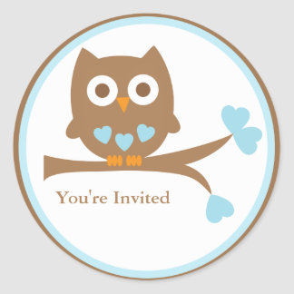 Blue Owl Baby Shower Envelope Seal Classic Round Sticker