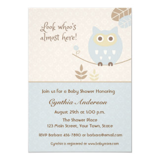 Blue Owl, Baby Shower for Boy Card